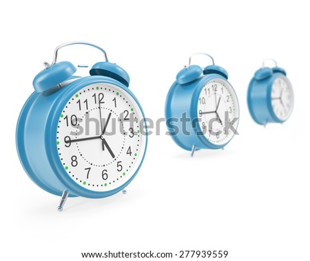 Watches alarm facing each other in a row with shadows isolated on white background. 3d illustration High resolution