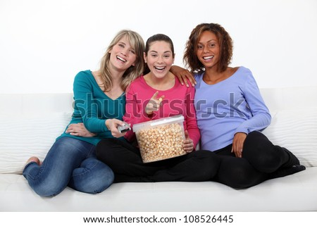 Watching a movie - stock photo
