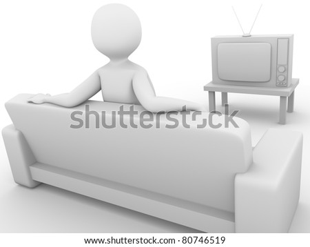 Watching television. Tv viewer sitting on the sofa. 3d render