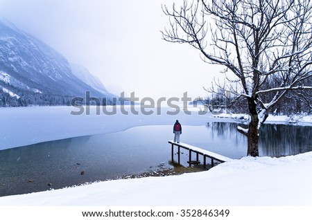 Watching the coming of a snow storm over frozen lake Bohinj in slovenian Alps, Slovenia - stock photo