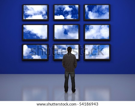 watching the digital world - stock photo