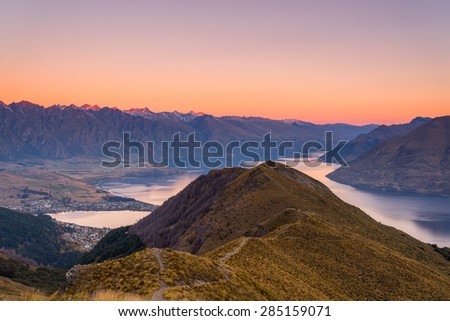 Watching the sunset on Queenstown along the Ben Lomond track