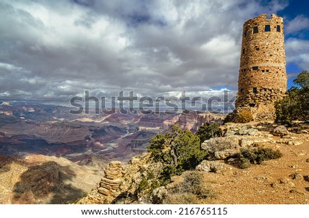 Watchtower at Desert View on the South Rim in Grand Canyon National Park, Arizona - stock photo