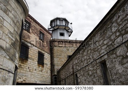 watchtower in old prison - stock photo