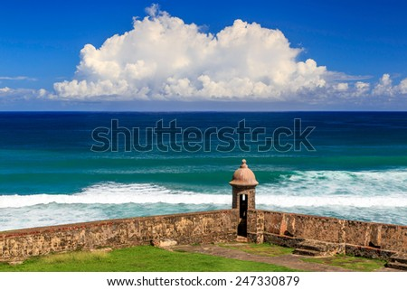 Watchtower in Old San Juan, Puerto Rico - stock photo