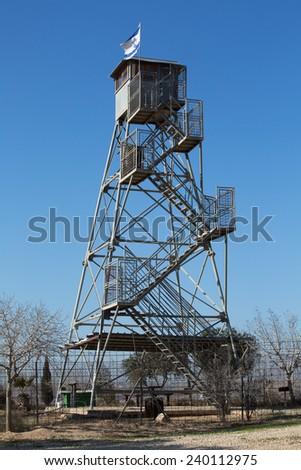 Watchtower in the fields, near Mitar, Israel - stock photo