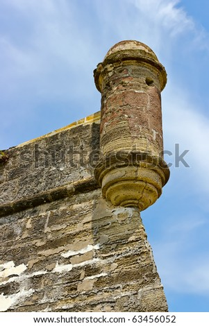 watchtower of the old fortress, Castillo de San Marcos National Monument in St. Augustine, Florida - stock photo