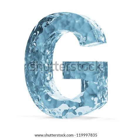 Water Alphabet isolated on white background (Letter G) - stock photo