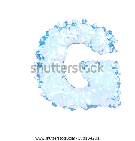 Water alphabet isolated on white (letter G)  - stock photo