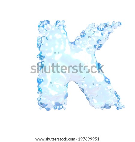 Water alphabet isolated on white (letter K)  - stock photo