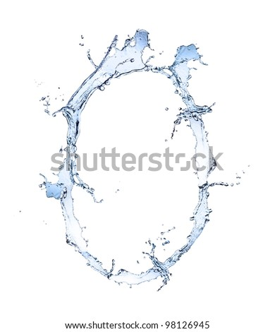 "Water alphabet letter ""O"" isolated on white background"