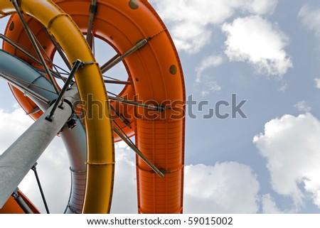 Water amusement park construction - stock photo