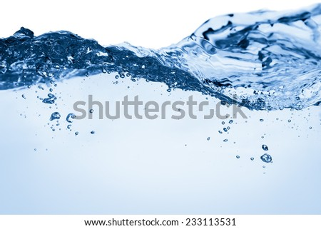 Water and air bubbles over white background with space for text - stock photo