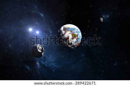 Water and atmosphere on Mars in the past - stock photo
