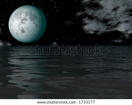 water and big full moon on the dark sky with - stock photo