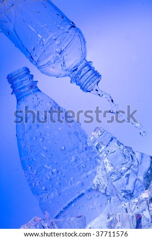 Water  and bottle in ice