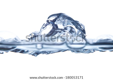 water and bubbles on white - stock photo