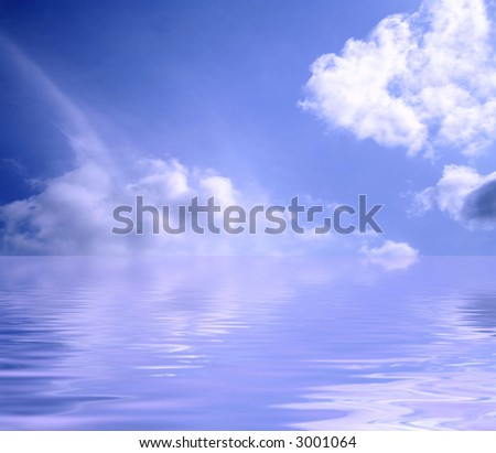 water and Clouds - stock photo