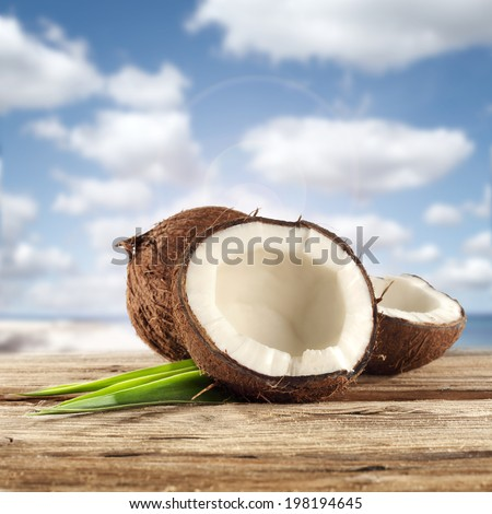 water and coconuts  - stock photo