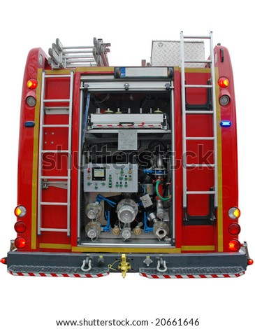 Water and foam pump engine in red fire truck isolated on white with clipping mask - stock photo