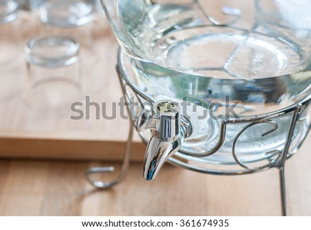 water and glass cooler - stock photo