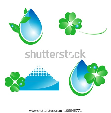 Water and green leaf ecology set of icons or logo design over white