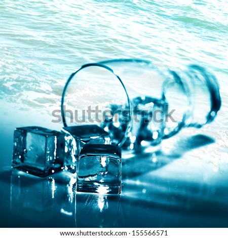Water and ice. Abstract backgrounds for your design - stock photo