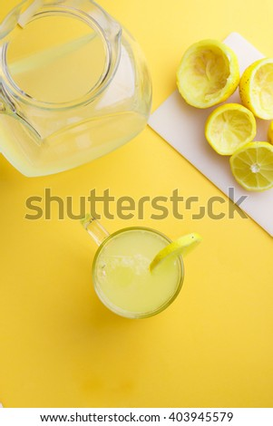 Water and lemon in yellow background