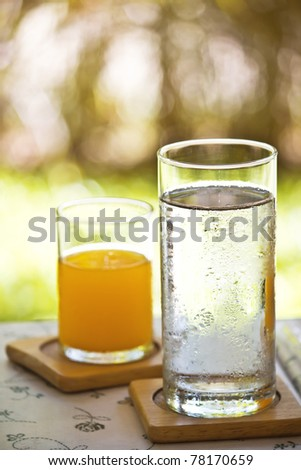 water and orange juice