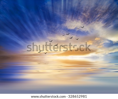 water and sky reflections - stock photo