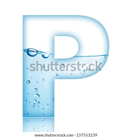 Water and water bubble alphabet letter. Letter P - stock photo