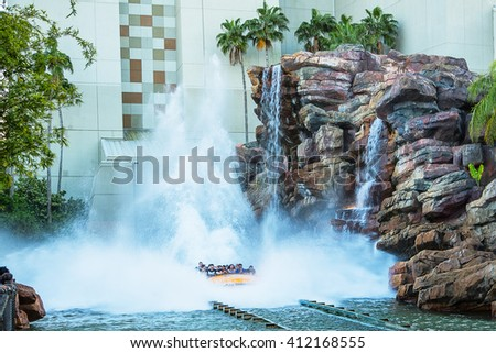 Water attraction in the Jurassic Park area in the Universal Studios Hollywood Park. - stock photo