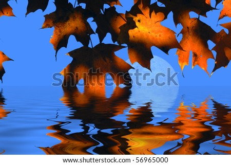Water Autumn Leaves and Moon - stock photo