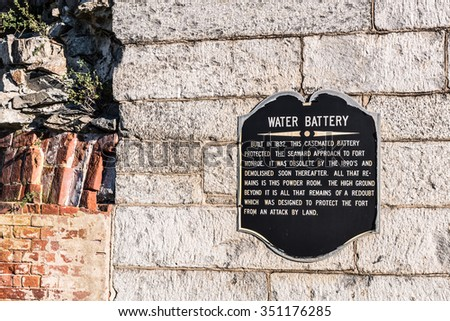 Water Battery at Fort Monroe in Hampton, Virginia - stock photo