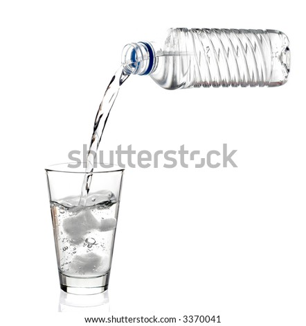 Water being poured into a glass against white background