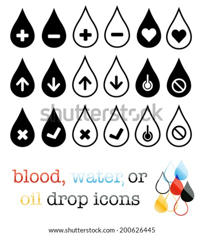 Water, blood, or oil droplet icons - stock photo