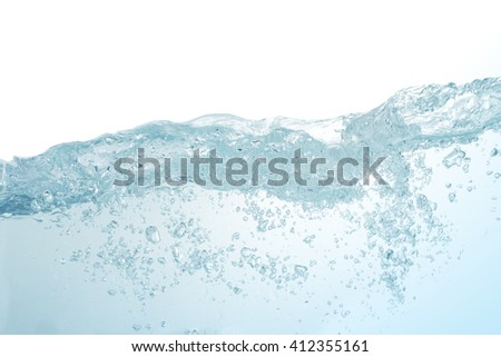 Water,blue water splash isolated on white background - stock photo