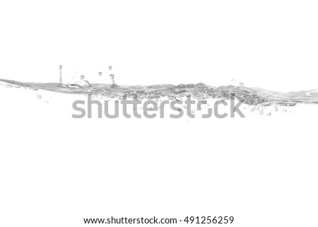 Water,blue water splash isolated on white background, Water and air bubbles