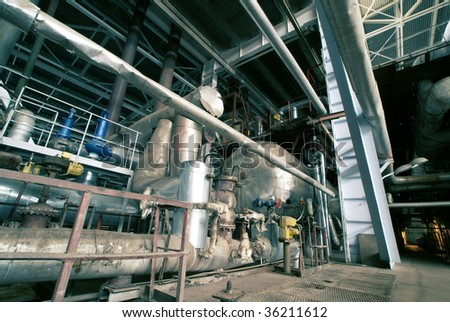 water boilers at power plant - stock photo