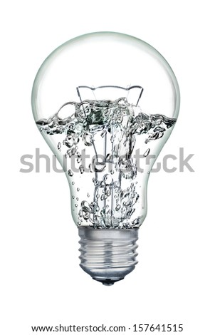 Water boiling inside of light bulb isolated on white background.