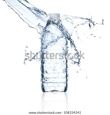 Water bottle and water splash isolated on white - stock photo