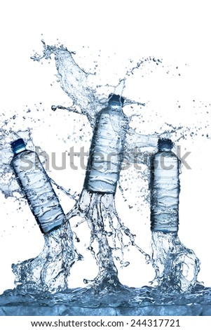 Water Bottle Coming Out of Ice Cube With Water Splash - stock photo