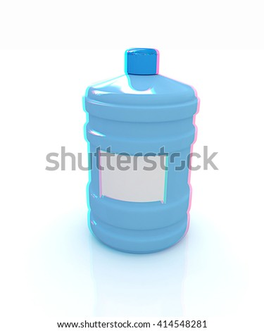 water bottle. 3D illustration. Anaglyph. View with red/cyan glasses to see in 3D. - stock photo