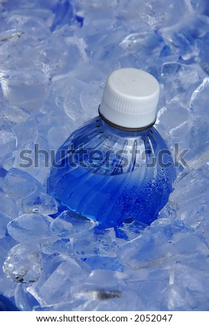 Water bottle in ice - stock photo