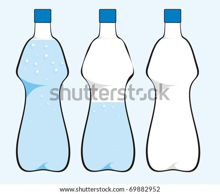 Water bottle isolated on light blue background color raster illustration