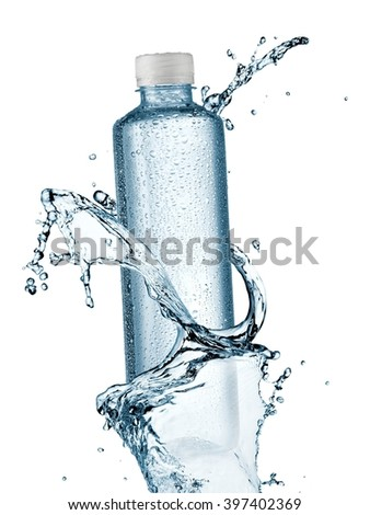 Water bottle with drops up - stock photo