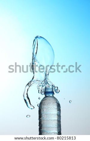 water bottle with splash - stock photo