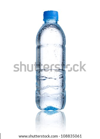 Water bottle with water drops on white background - stock photo