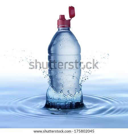 Water Bottle with Water Splash - stock photo