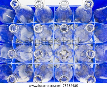Water bottles are stored in the bottle used - stock photo